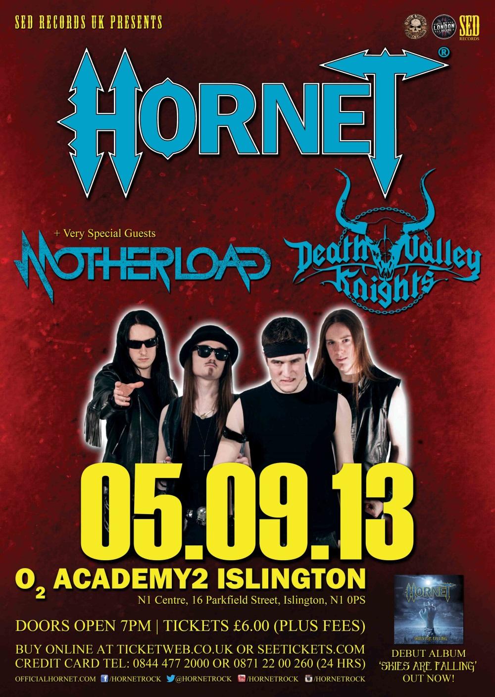 Hornet, Motherload & Death Valley Knights Live @ O2 Academy Islington, 05/09/13