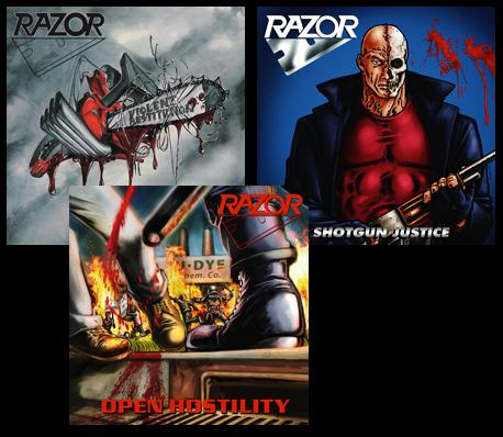 Razor – Violent Restitution / Shotgun Justice / Open Hostility (re-issues)