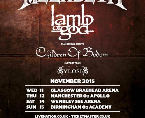 Megadeth – Announce UK & EIRE Co-Headline Tour with Lamb Of God – Support From Children Of Bodom and Sylosis