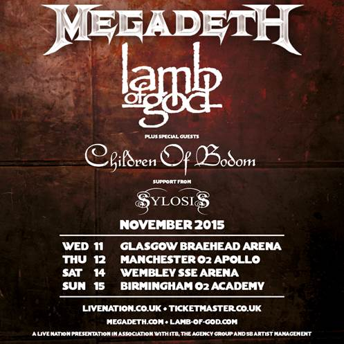 Megadeth - Announce UK & EIRE Co-Headline Tour with Lamb Of God - Support From Children Of Bodom and Sylosis