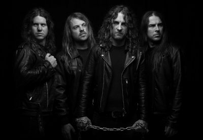 MELBOURNE, AUSTRALIA - FEBRUARY 12TH 2013;Members of Airbourne pose for portraits on Wednesday 12th February 2013 in Melbourne Australia. (Photo by Martin Philbey) *** Local Caption ***Airbourne