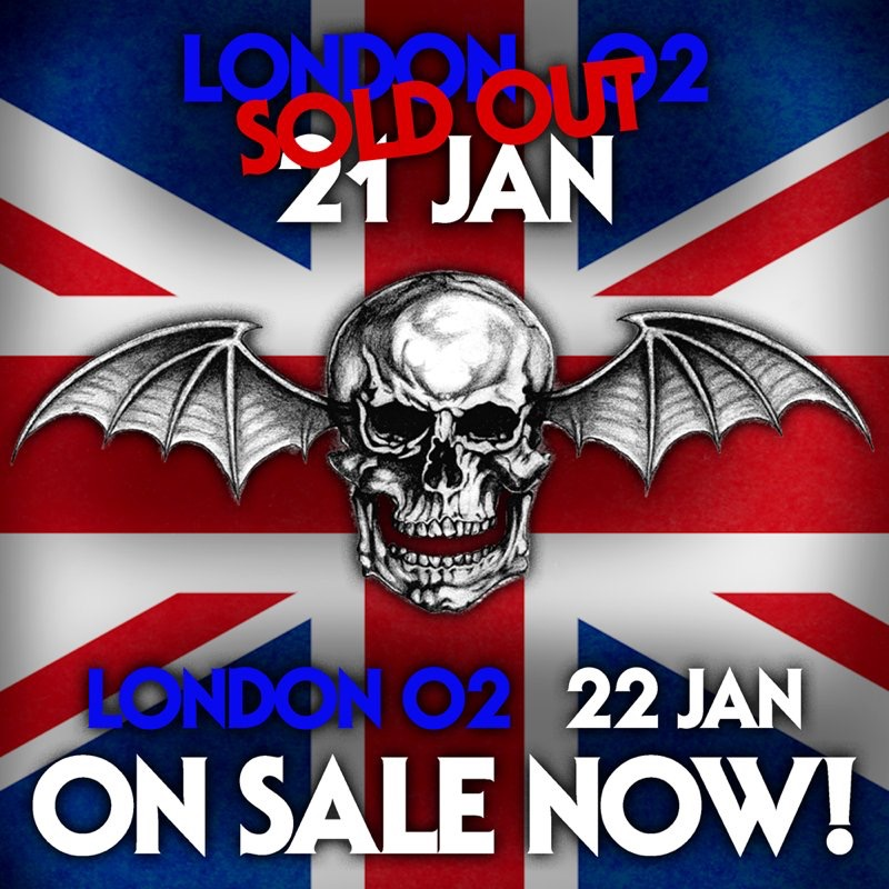 AVENGED SEVENFOLD ADD A SECOND NIGHT AT LONDON'S O2 ARENA