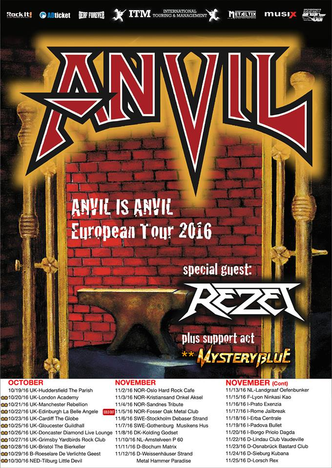 Anvil – Rebellion, Manchester, 21/10/2016