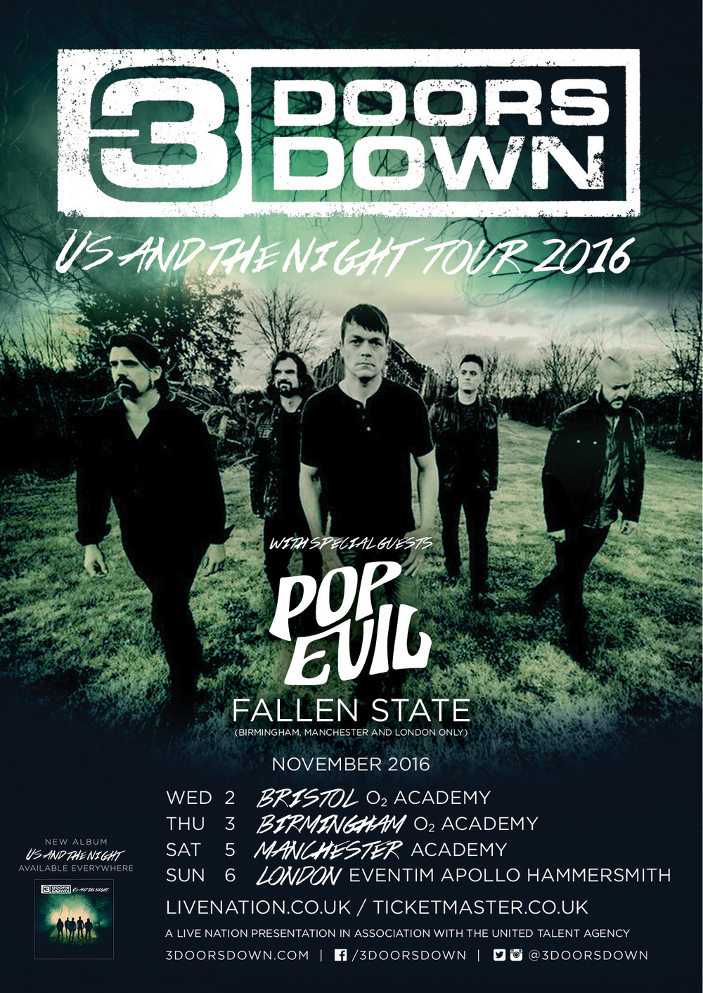 The Fallen State, Pop Evil and 3 Doors Down Manchester 5/11/16