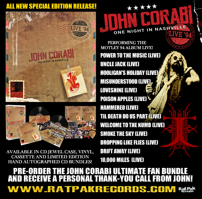 "RPR set to release John Corabi ""Live 94"" (One Night In Nashville)"