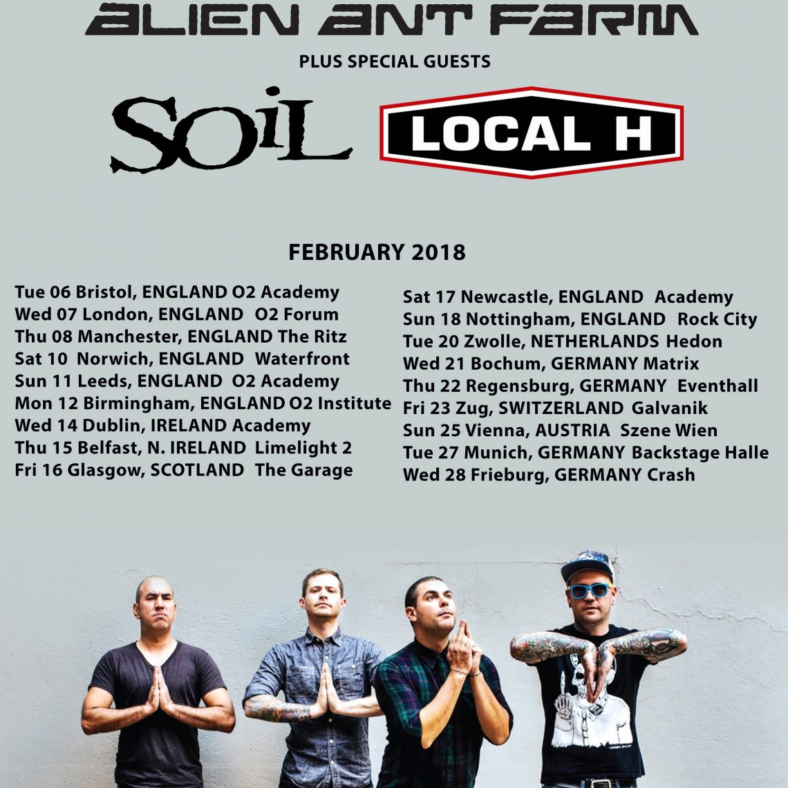 Alien Ant Farm, The European Tour, with special guests SOiL and Local H – at O2 Ritz, Manchester 08/02/2018