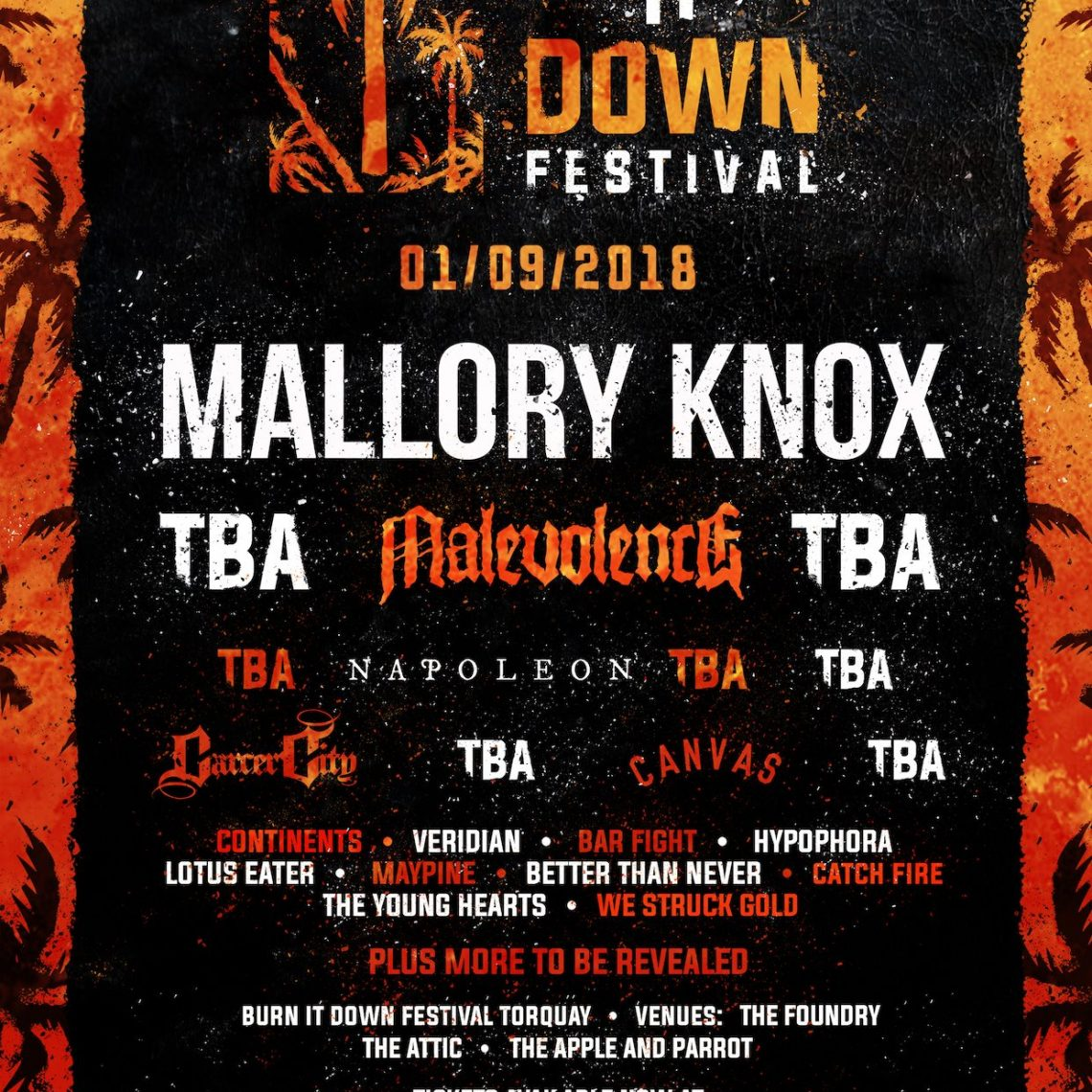 BURN IT DOWN FESTIVAL announce first line up addition of 2018