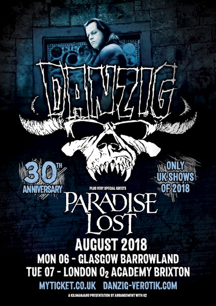 PARADISE LOST announced as support to DANZIG on his UK shows