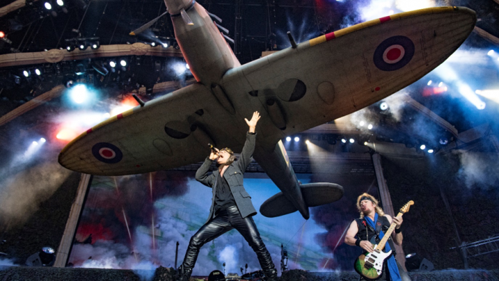 ACES HIGH: IRON MAIDEN FLY REPLICA SPITFIRE AS THEIR SOLD OUT LEGACY OF THE BEAST TOUR LANDS IN THE UK