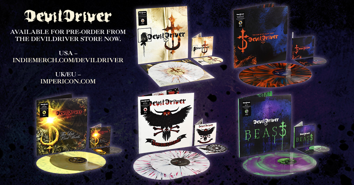DEVILDRIVER announce revamped catalogue reissues & frontman Dez unboxes the coloured vinyl!