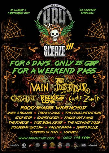 'HRH Sleaze' Announces its Line-up for the Next Chapter in 2019