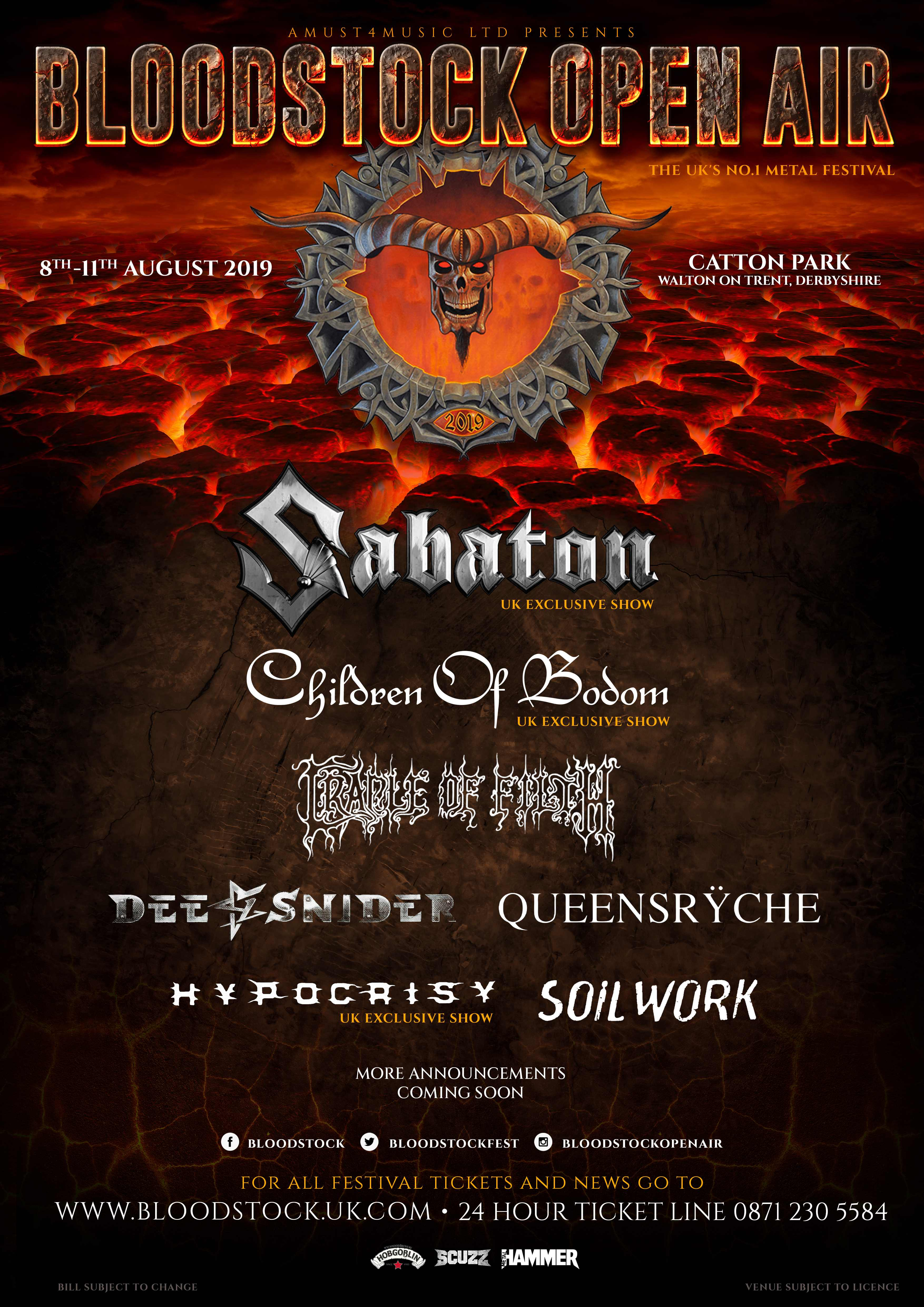 BLOODSTOCK announce 6 bands as an early Halloween treat!