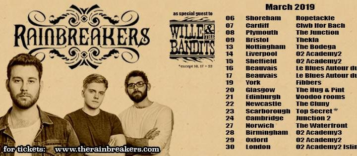 Rainbreakers announce they'll be supporting Wille and the Bandits on tour in 2019
