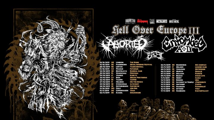 "Century Media Records Artists ABORTED, ENTOMBED A.D. and BAEST Team Up For ""Hell Over Europe III"" Tour"