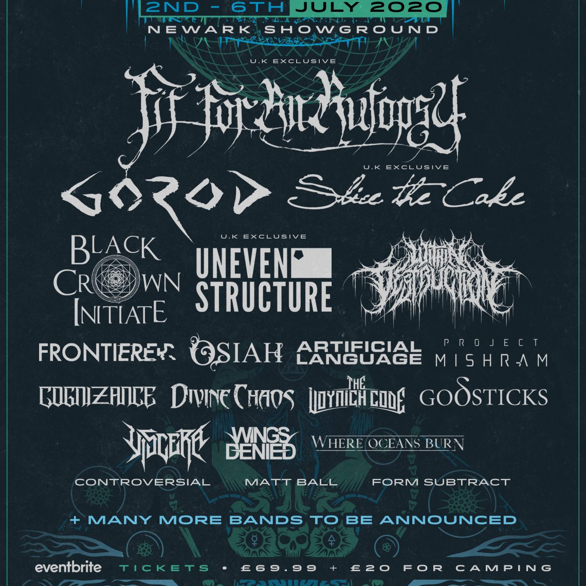UK TECH-FEST announces Fit For An Autopsy, Gorod, Slice The Cake and 17 more for 2020  2nd-6th July 2019 at the Newark Showground