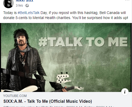 NIKKI SIXX  ENCOURAGES OPEN DISCUSSION  ON BELL 'LET'S TALK' DAY