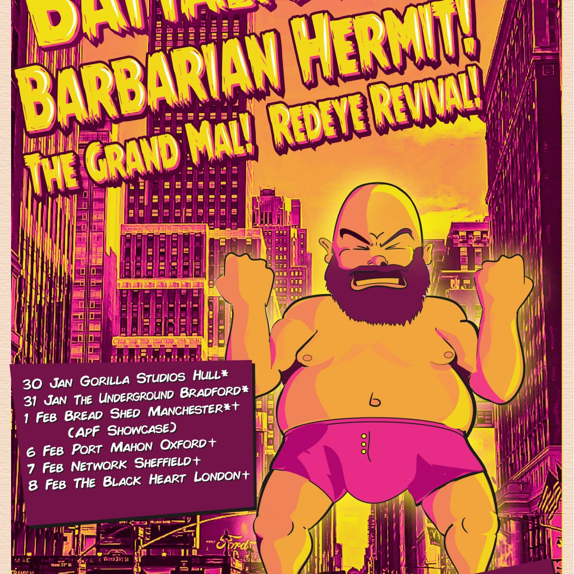 APF Records – Barbarian Hermit, Battalions and Red Eye Revival – Gorilla Studios, Hull.